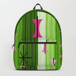 Groovy Lined Mid Century Modern Chartreuse Backpack