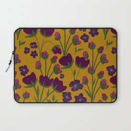 Purple and Gold Floral Seamless Illustration Laptop Sleeve