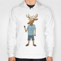 country Hoodies featuring Country deer by Santiago Uceda