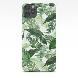 Green leaf watercolor pattern iPhone Case
