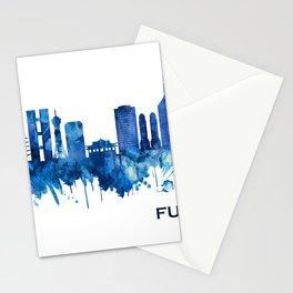 Fukuoka Japan Skyline Blue Stationery Cards