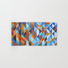 Triangle Pattern no.18 blue and orange Hand & Bath Towel
