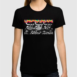 Sloths, Pyramids, Skulls, Rainbow Clouds T-shirt