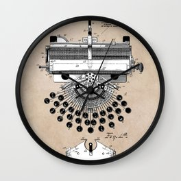 patent art type writing machine Wall Clock