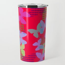 Striped, Plaid and Colorful Butteflies ZFF Travel Mug