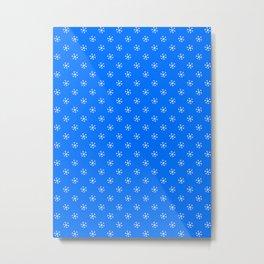 White on Brandeis Blue Snowflakes Metal Print