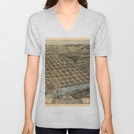 Map Of Knoxville 1871 Unisex V-Neck