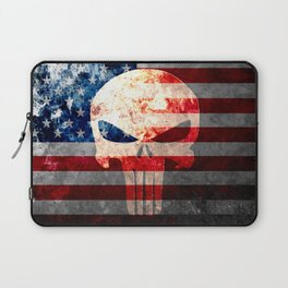 Skull and American Flag on Distressed Metal Laptop Sleeve