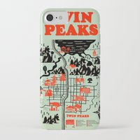 map iPhone & iPod Cases featuring Twin Peaks Map by Robert Farkas