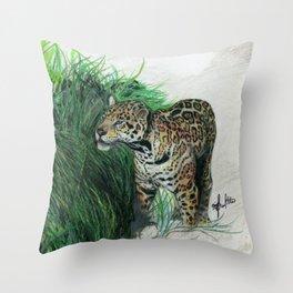 Study of a Jaguar Throw Pillow