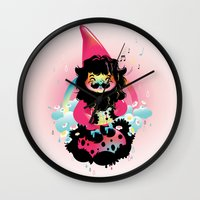 gnome Wall Clocks featuring Whistling gnome by Meni Tzima