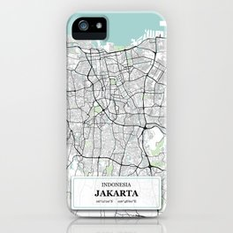 Jakarta Indonesia City Map with GPS Coordinates iPhone Case