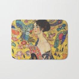 Gustav Klimt Lady With Fan  Art Nouveau Painting Bath Mat