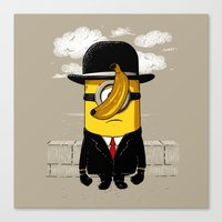 magritte Canvas Prints featuring Magritte banana by le.duc