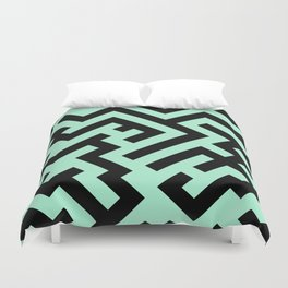 Black and Magic Mint Green Diagonal Labyrinth Duvet Cover