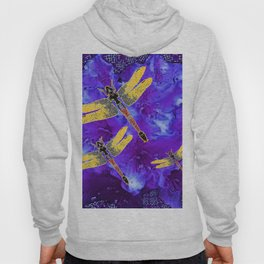 Golden Dragonflies Midnight Blue Dreamscape Hoody