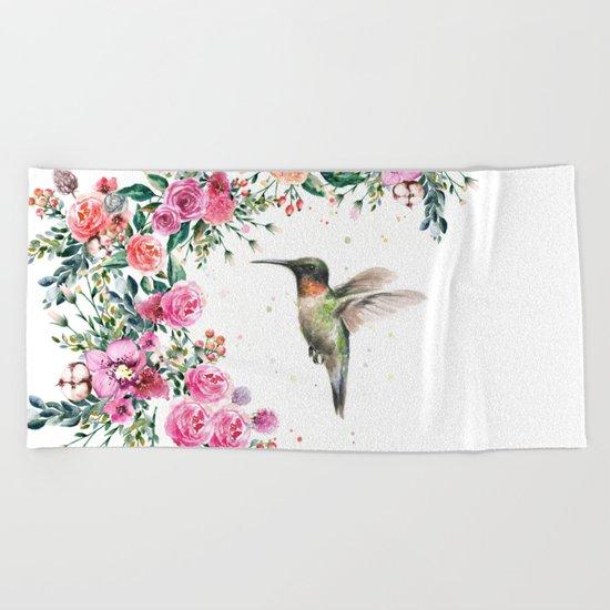 Hummingbird and Flowers Watercolor Animals Beach Towel