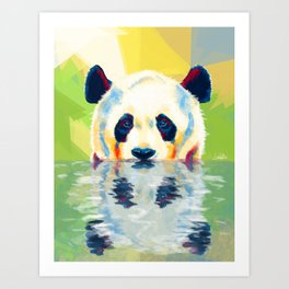 Panda taking a bath Art Print