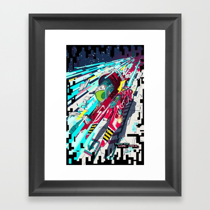 Faster than GAME OVER v2.0 +T-SHIRT DESIGN+ Framed Art Print