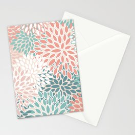 Festive, Floral Prints, Teal Green, Peach, Coral, Colour Prints Stationery Cards