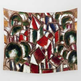 Village in the Forest, Paris, France landscape painting by Fernand Leger Wall Tapestry
