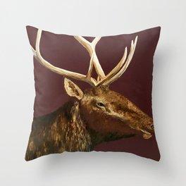 Big Bull Elk Profile Throw Pillow
