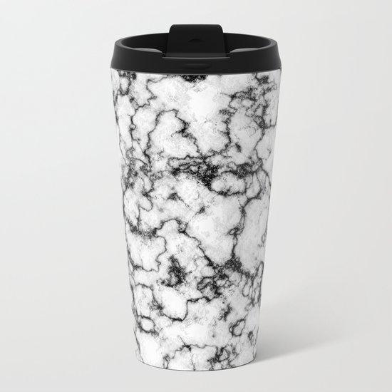 Black and White Stone Metal Travel Mug