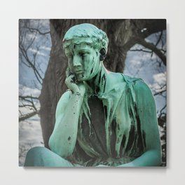 Bronze Monument Contemplating Life at the Albany Rural Cemetery in New York State Metal Print