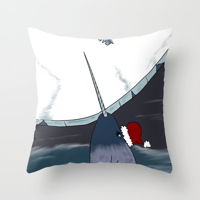 A Narwhal For Christmas Throw Pillow