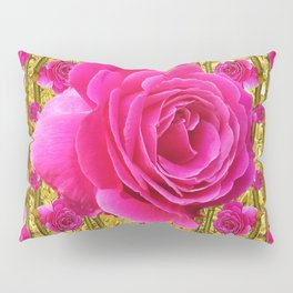"FUCHSIA PINK ""ROSES & THORNS""  GOLD ART  ROSE  PATTERNS Pillow Sham"