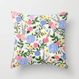 French Country Garden Print Throw Pillow