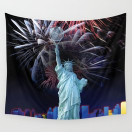 Statue of Liberty with Tennis Racquet Torch Wall Tapestry