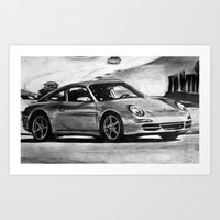porsche Art Prints featuring Porsche  by Marcela Caraballo