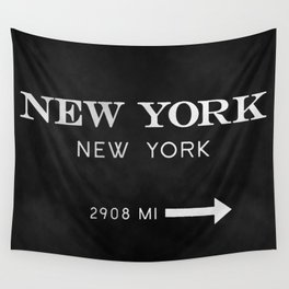 black watercolor new york new york Wall Tapestry