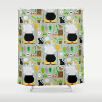lab Shower Curtains featuring Witch's lab by Ana Linea