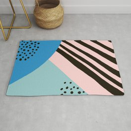 Mid-Century Abstract Painting - Blue and Black Rug