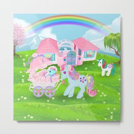 g1 my little pony stylized Sweet Stuff and baby Metal Print