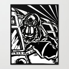 Monkey Pilot Black & White Canvas Print
