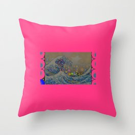 Trippy Great Wave Throw Pillow