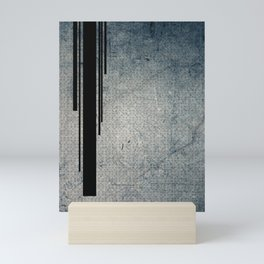 Geometric Grunge Blue - Gray Vertical Black Stripes Polka Dots Illustration Mini Art Print