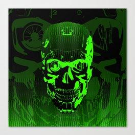 Gamer Skull CARTOON GREEN / 3D render of cyborg head Canvas Print