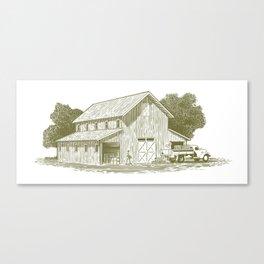 Woodcut Farm Work Scene Canvas Print