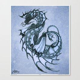 """Tsunami"" by Amber Marine ~ Sea Dragon (Ice Blue Version) ~ Graphite Illustration, (Copyright 2005) Canvas Print"