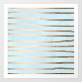 Abstract Drawn Stripes Gold Tropical Ocean Sea Turquoise Art Print