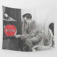 netflix Wall Tapestries featuring 10 Minutes into Netflix n Chill by Calepotts