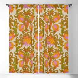 Orange, Pink Flowers and Green Leaves 1960s Retro Vintage Pattern Blackout Curtain