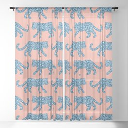 Kitty Parade - Blue on Coral Sheer Curtain
