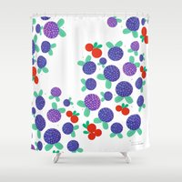 finland Shower Curtains featuring Berry Picking in Finland by Studio Spotnik