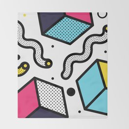 Memphis Pop-art Pattern II Throw Blanket