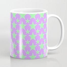 Green Star Pattern on Purple Coffee Mug